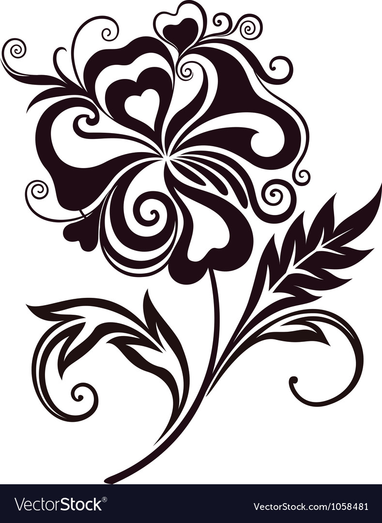 Line Drawing Flower Vector : Abstract flower line art royalty free vector image