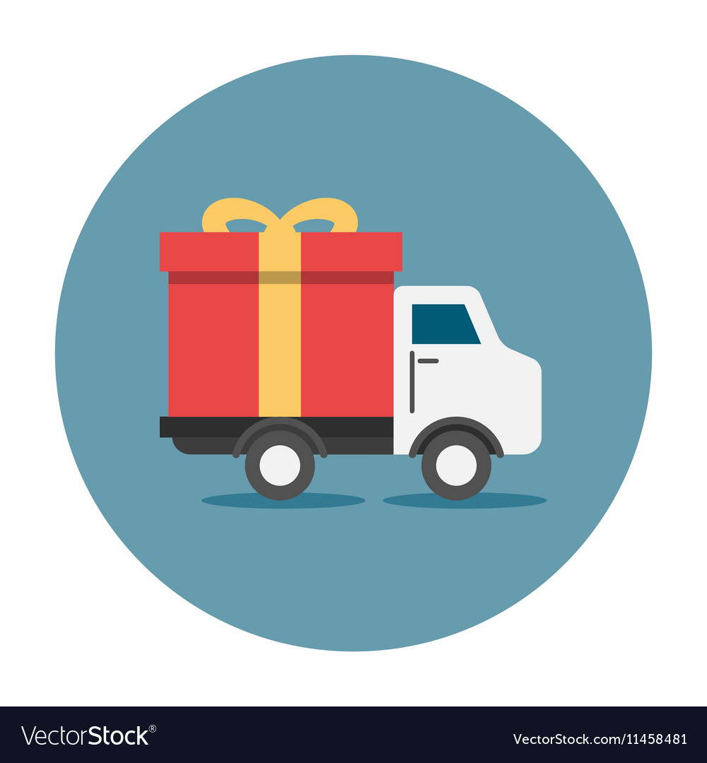 Truck delivey gift box vector image