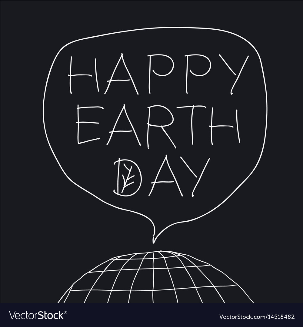 Happy earth day greeting lettering in speech vector image