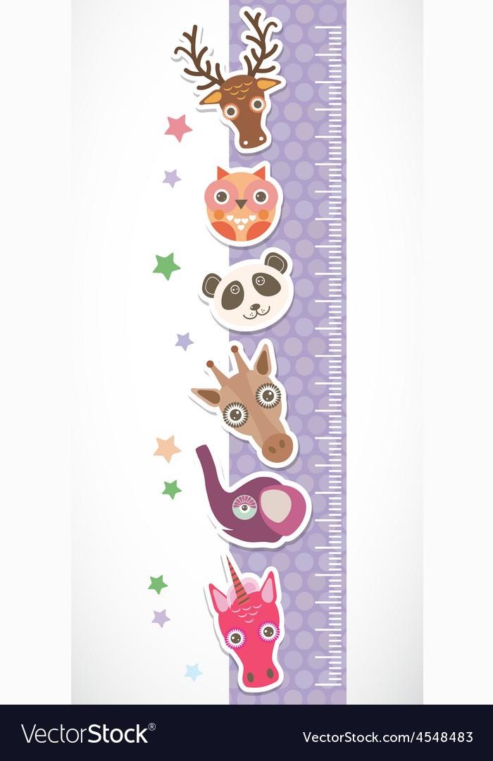Children height meter wall sticker Set of funny vector image