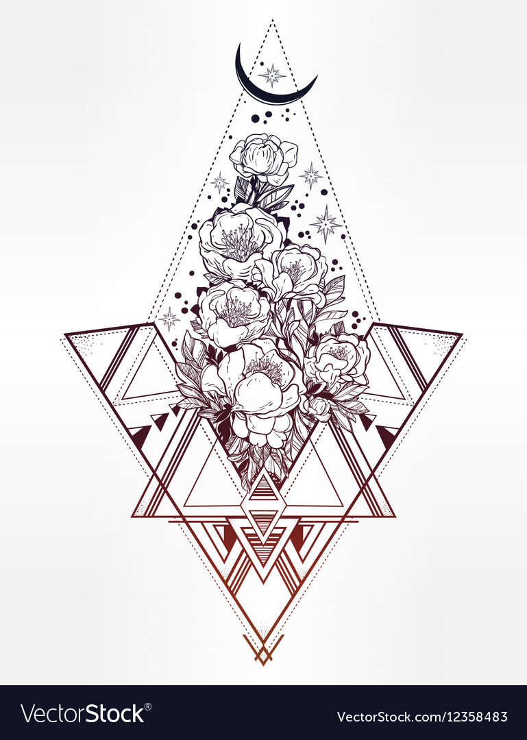 Peony flower with sacred geometry vector image
