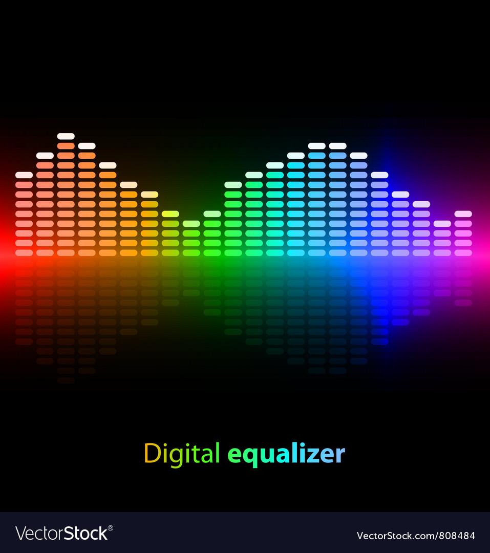 Colorful digital equalizer on black background vector image