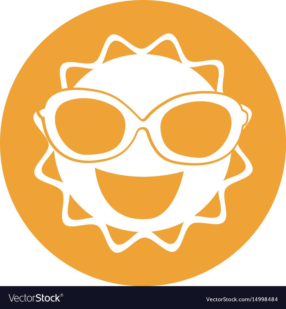 Summer sun with sunglasses kawaii character vector image