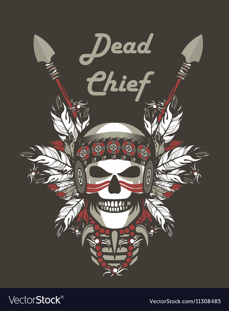 Indian skull chief vector image