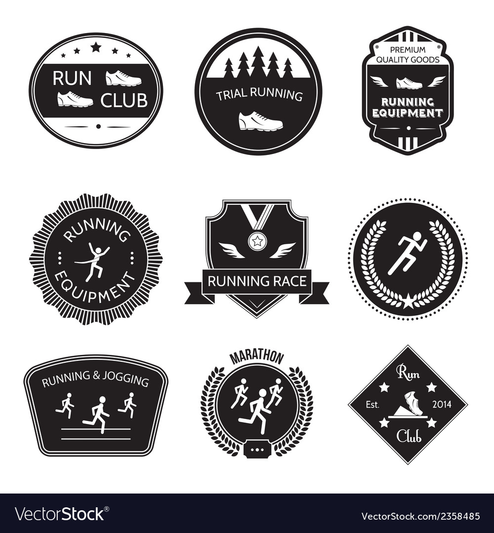 Running icons label vector image