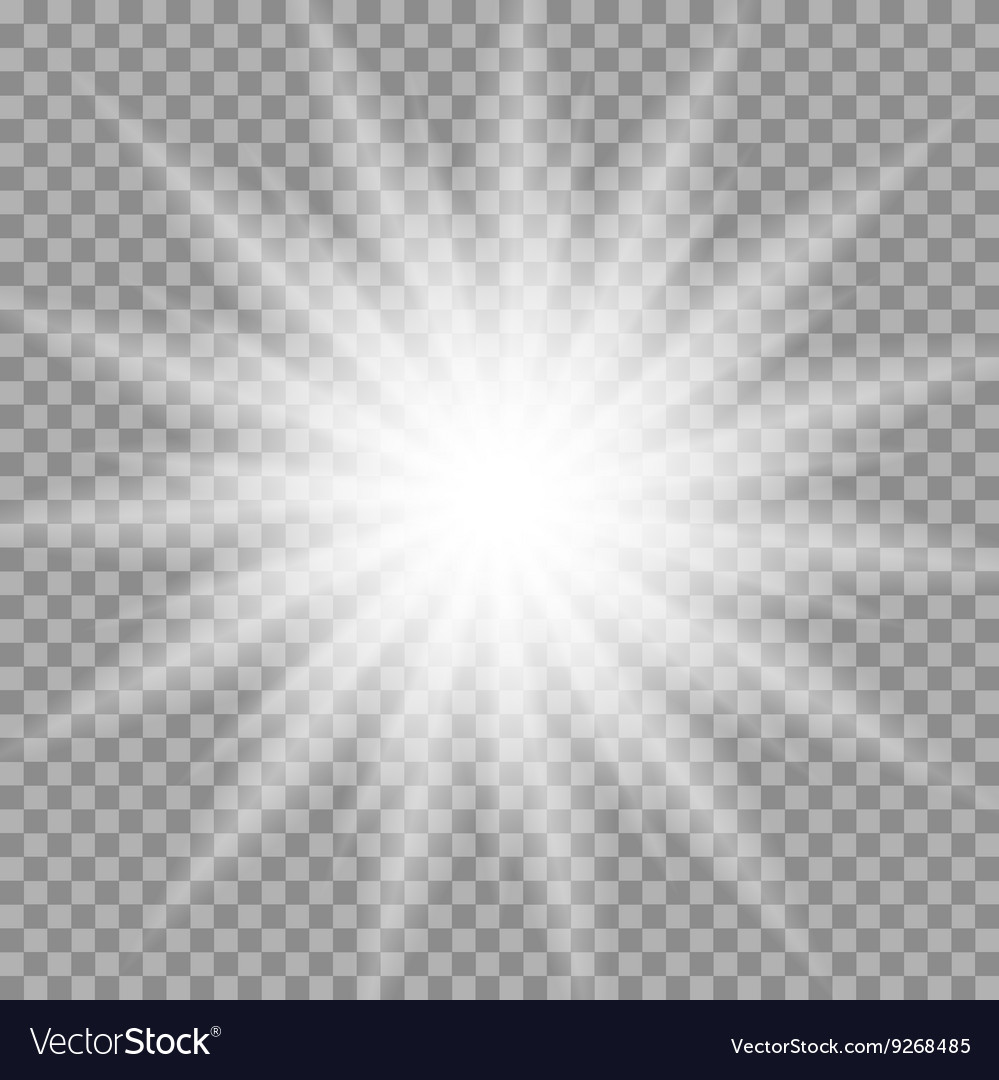 White glowing iridescent light effect star design vector image