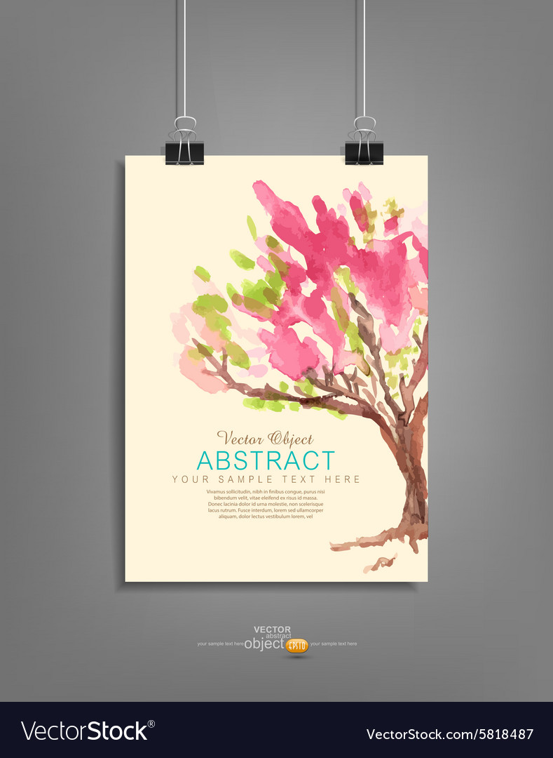 Hanging template for graphic design with a painted vector image