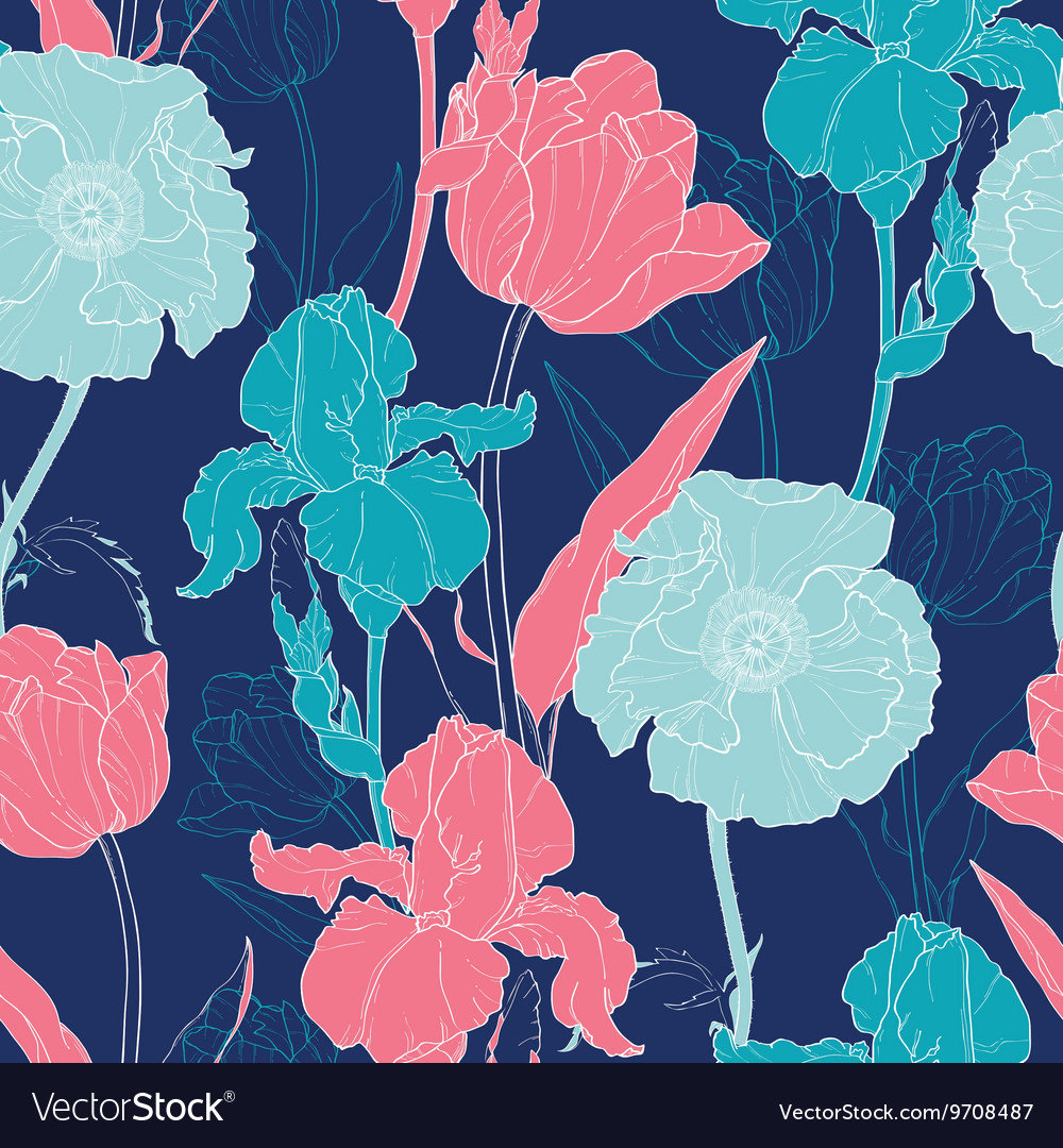 Night Flowers Seamless Repeat Pattern With vector image