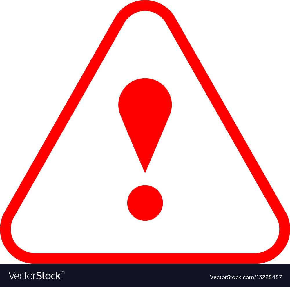 Red triangle exclamation mark icon warning sign vector image