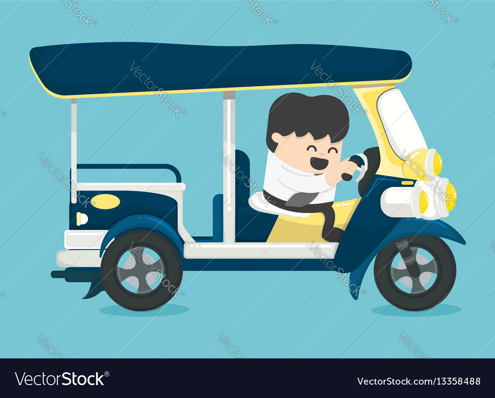 Businessman driving three-wheeler tuk tuk taxi tha vector image