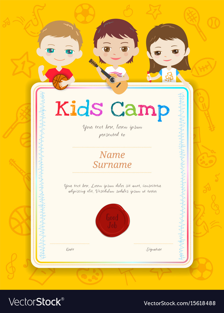 Portrait colorful kids award diploma certificate Vector Image