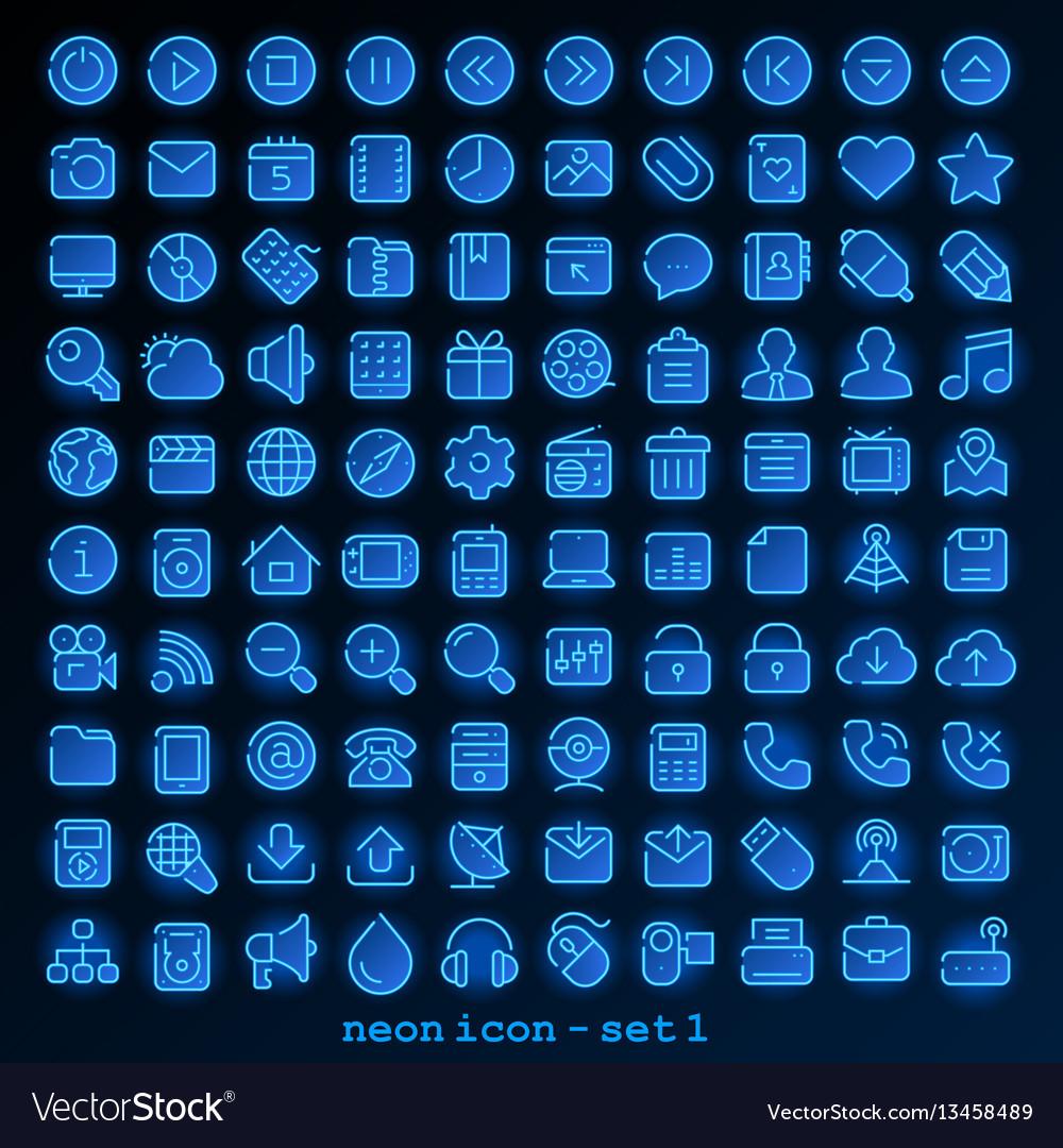 Neon line icon - set 1 vector image