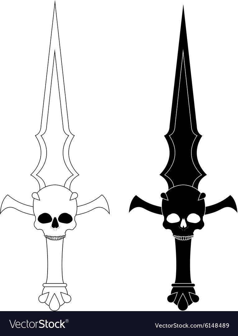 Ritual dagger Sharp blade with skull Contour vector image