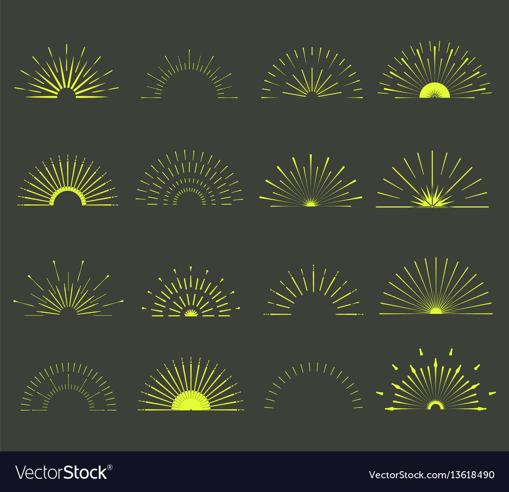 Retro sun burst minimal vintage firework burst vector image