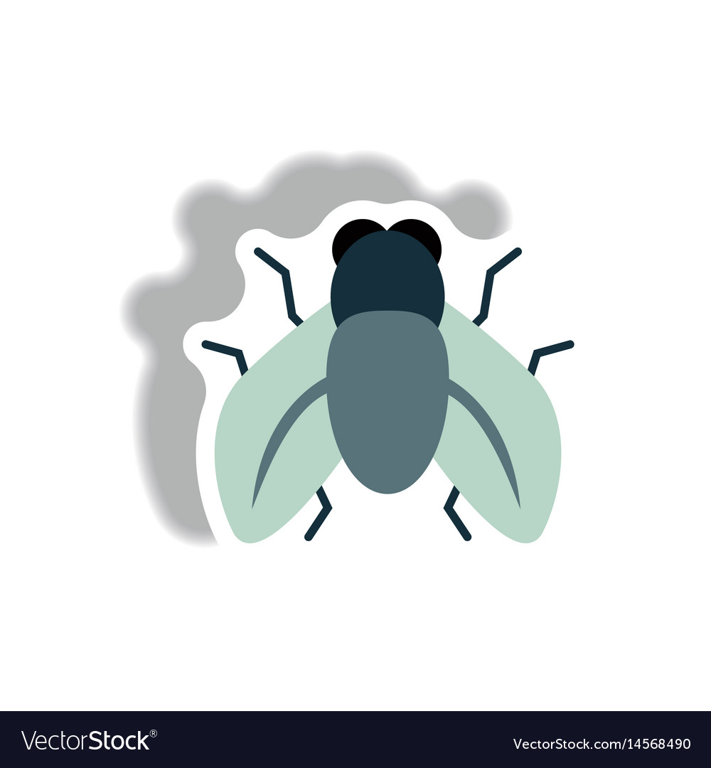 Stylish icon in paper sticker style fly insect