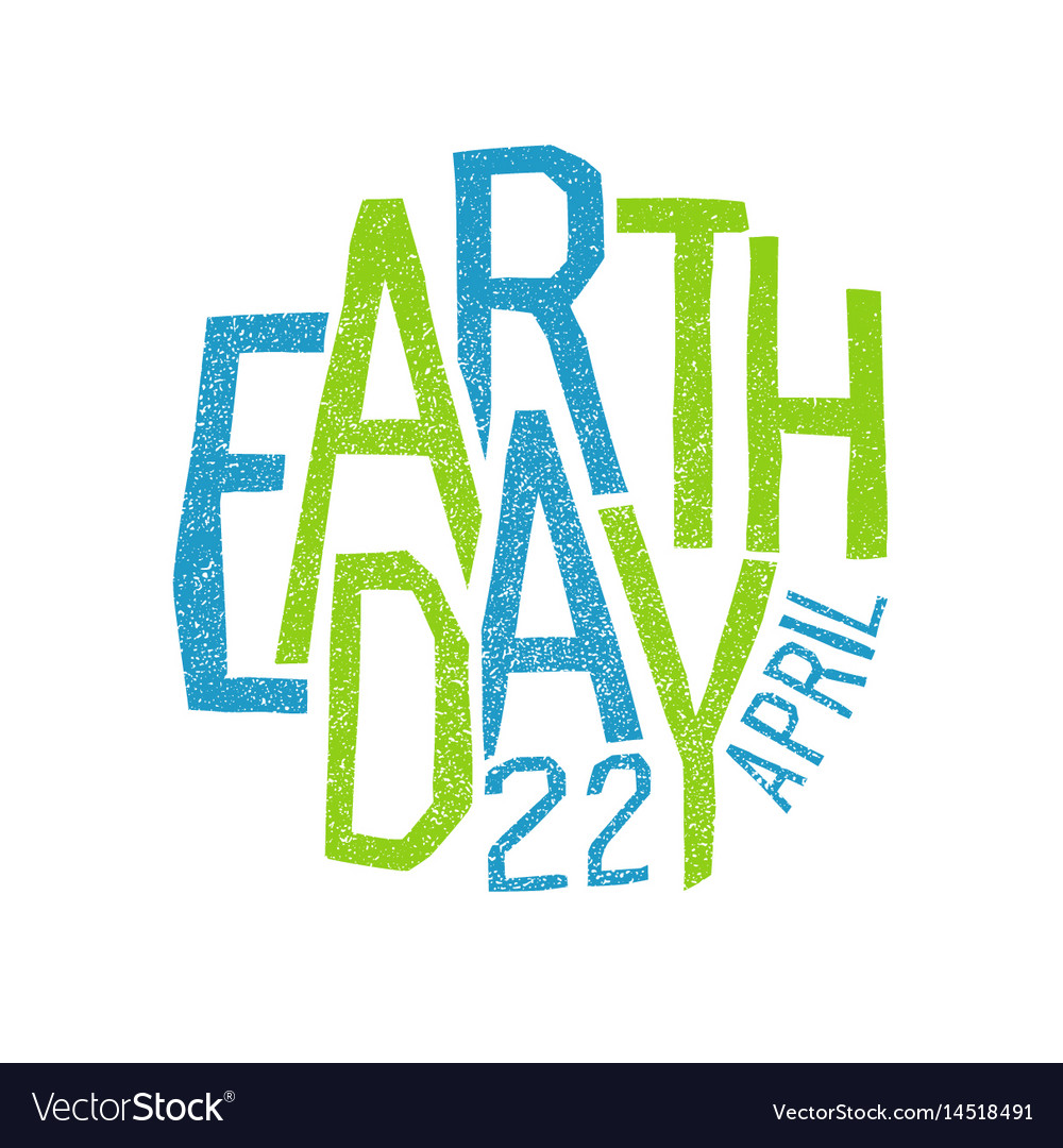 Earth day 22 april holiday logotype design vector image