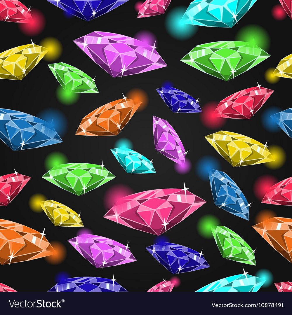 Seamless pattern with different gems vector image