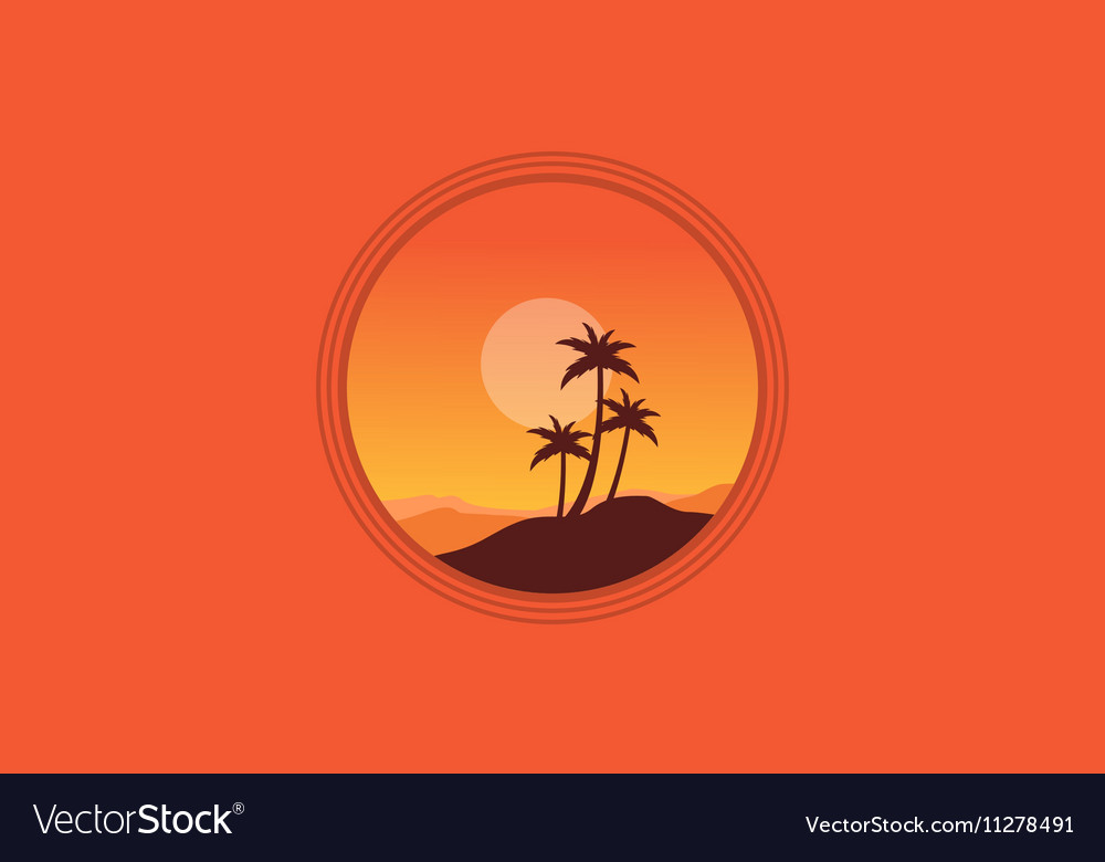 Silhouette of palm on orange backgrounds vector image