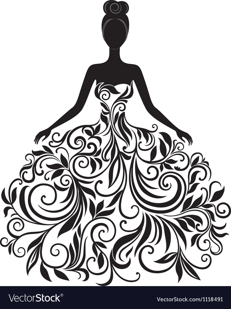 Silhouette Of Young Woman In Dress Royalty Free Vector Image
