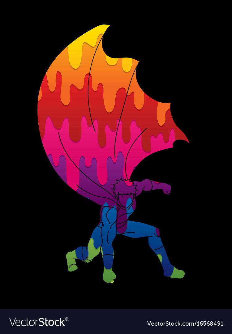 Strong man superhero landing action vector image