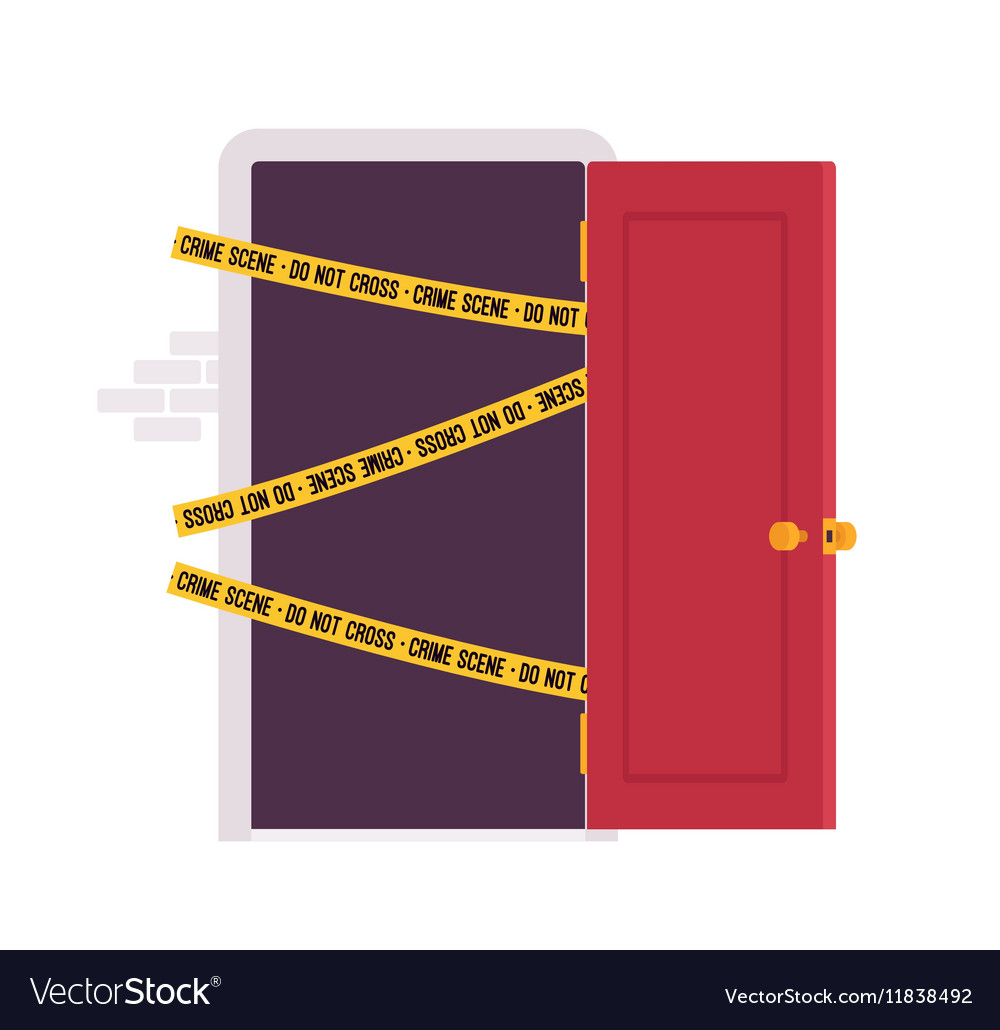 Door and crime scene tape vector image