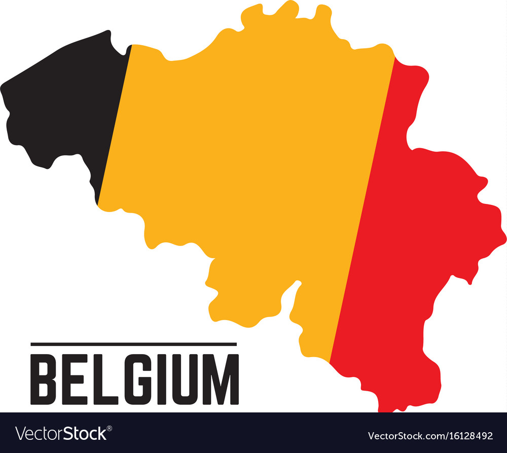 Flag and map of belgium vector image