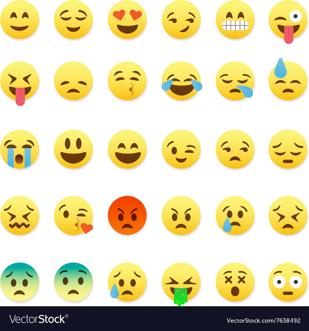 Set of cute smiley emoticons emoji flat design vector image