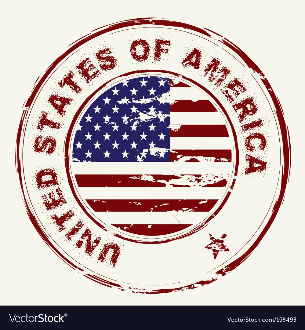 Us flag grunge ink stamp vector image