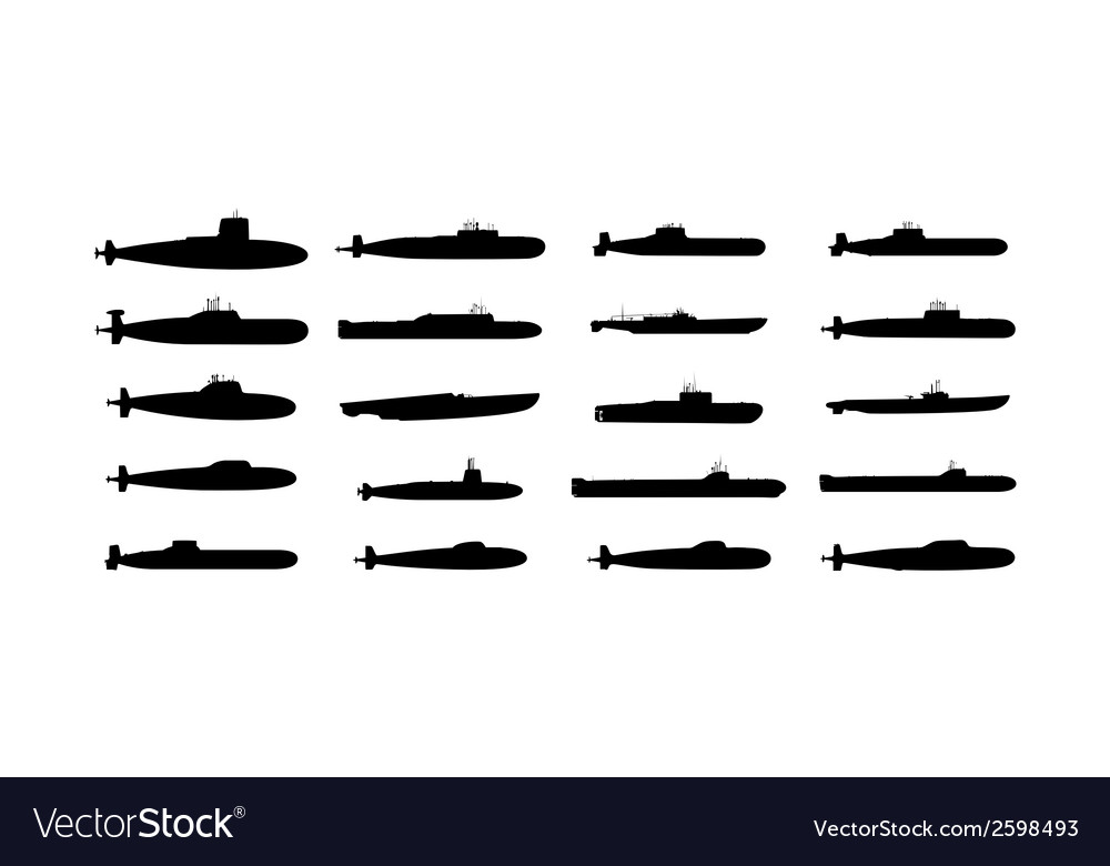 Submarines black silhouettes set vector image