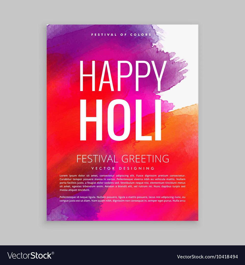 Colorful holi festival flyer with paint vector image