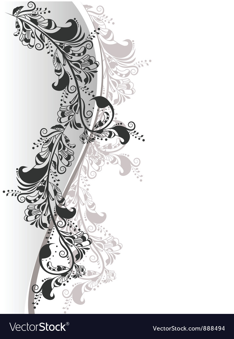 Floral composition from white and black 2 vector image