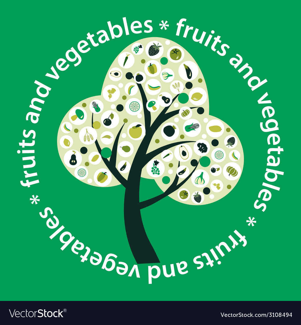 Tree made of fruits and vegetables- vector image