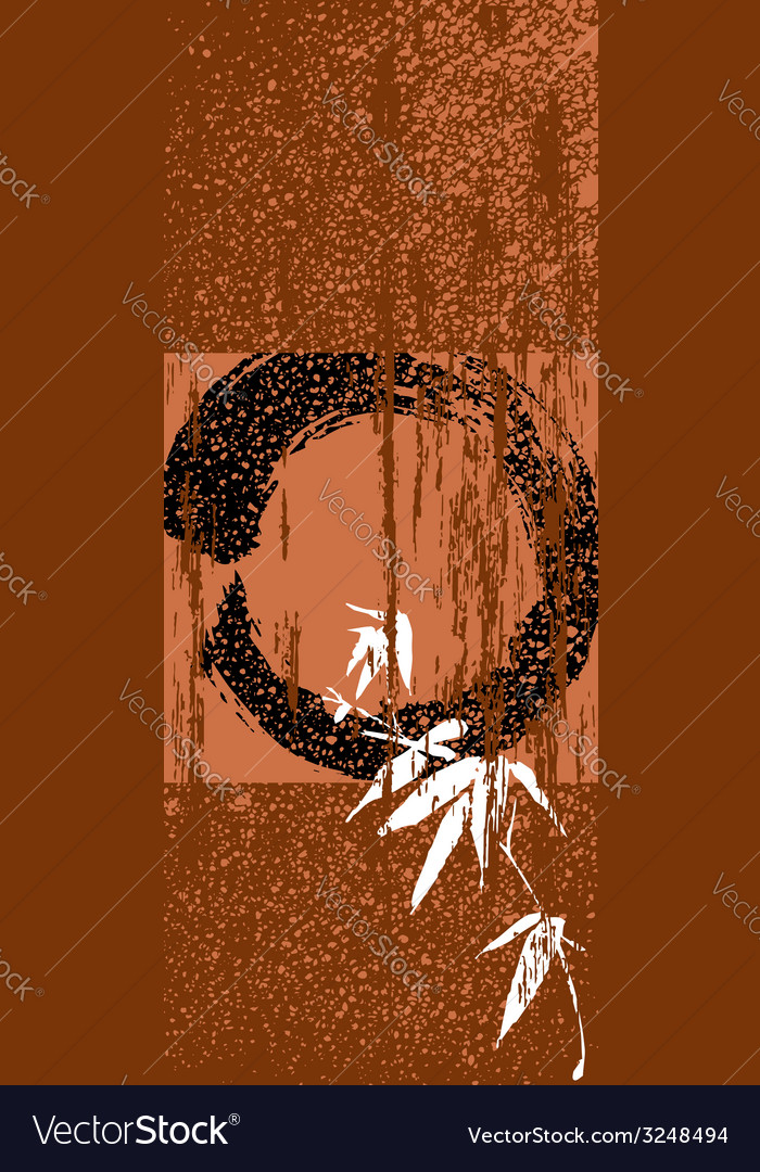 Zen circle and bamboo vintage poster background vector image