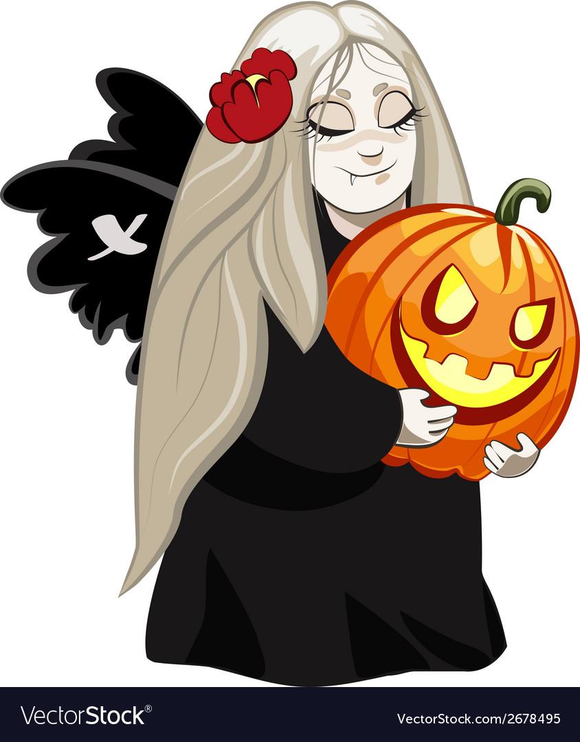 Vampire girl with pumpkin vector image