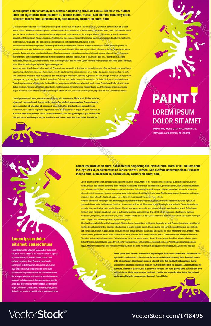 Brochure folder paint colorful element design Royalty Free Vector ...