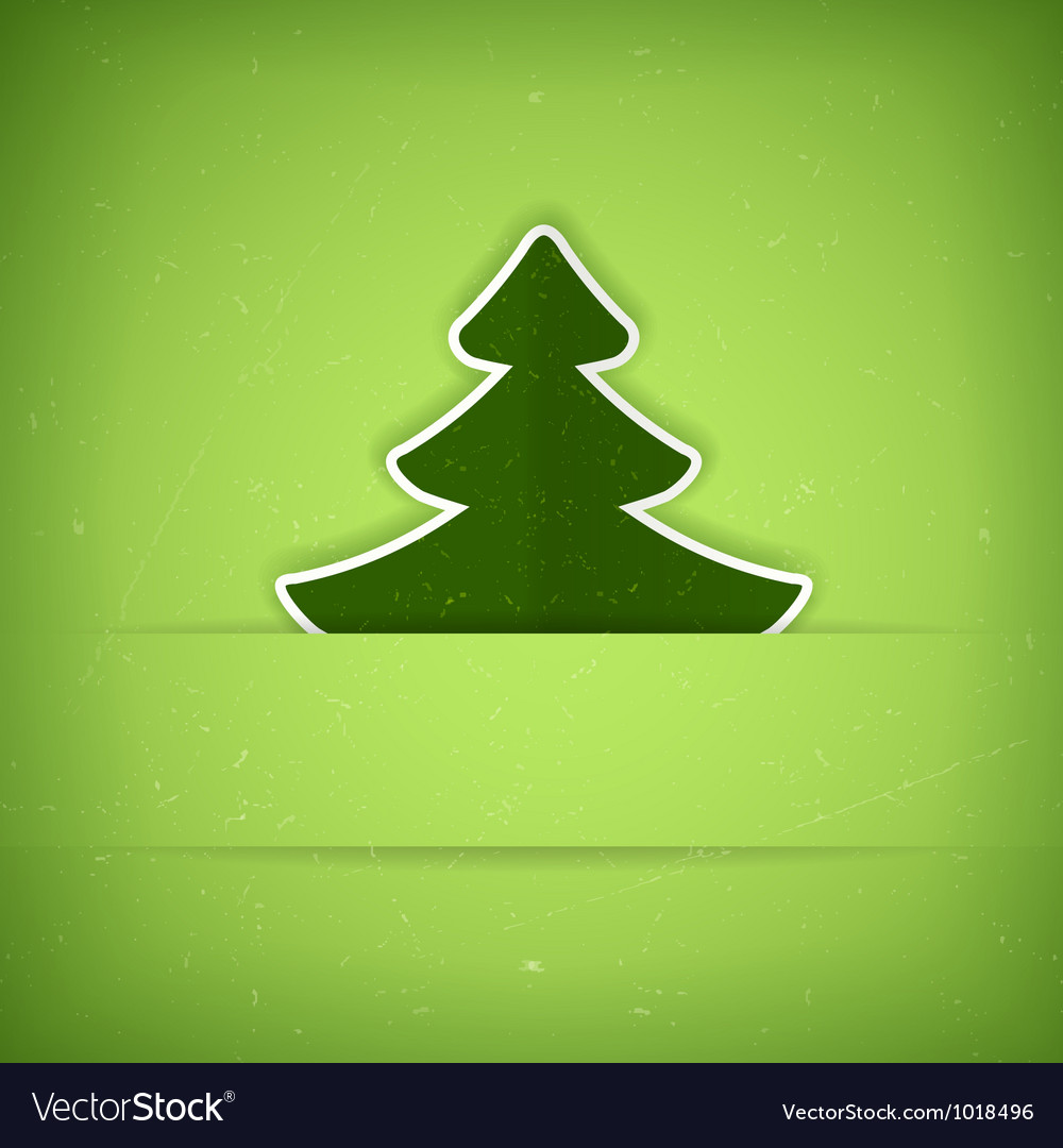 Green Christmas tree card vector image