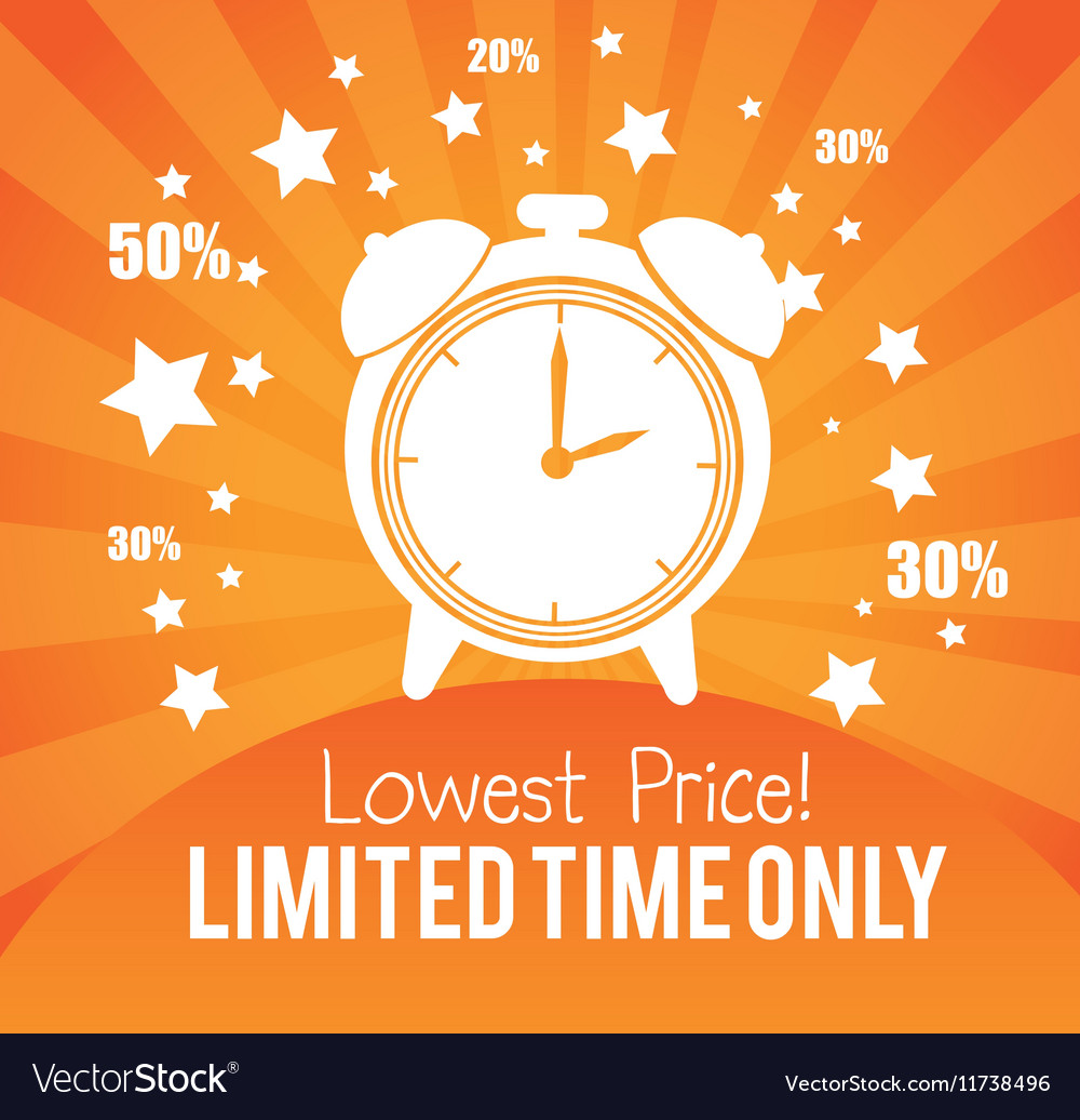 Lowest price limited time only advertisement gold vector image