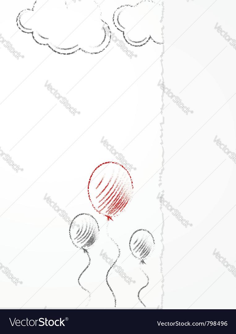 Pencil balloons sketch vector image