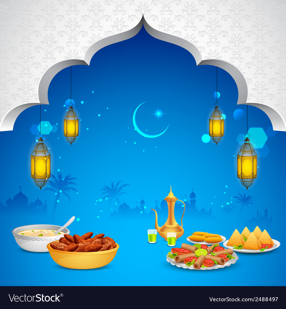 Delicious dishes for Iftar party vector image
