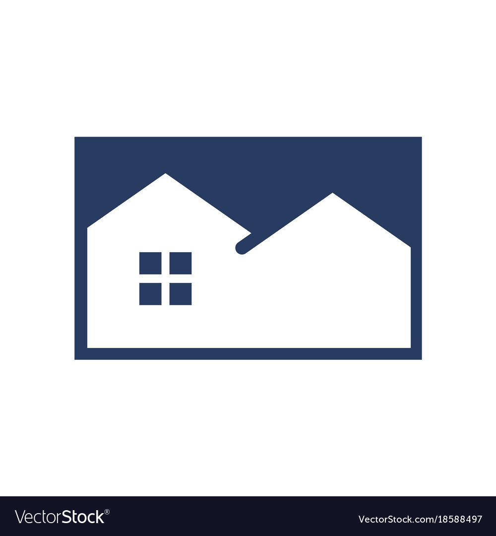 Simple negative space blue house vector image