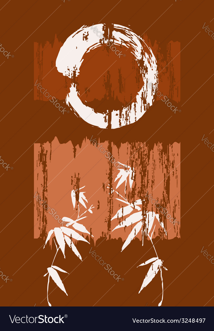 Zen circle and bamboo grunge wood background vector image