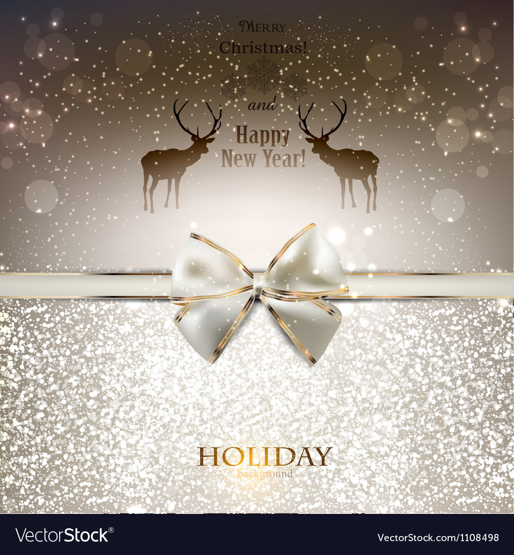 Elegant greeting card with white bow and copy vector image