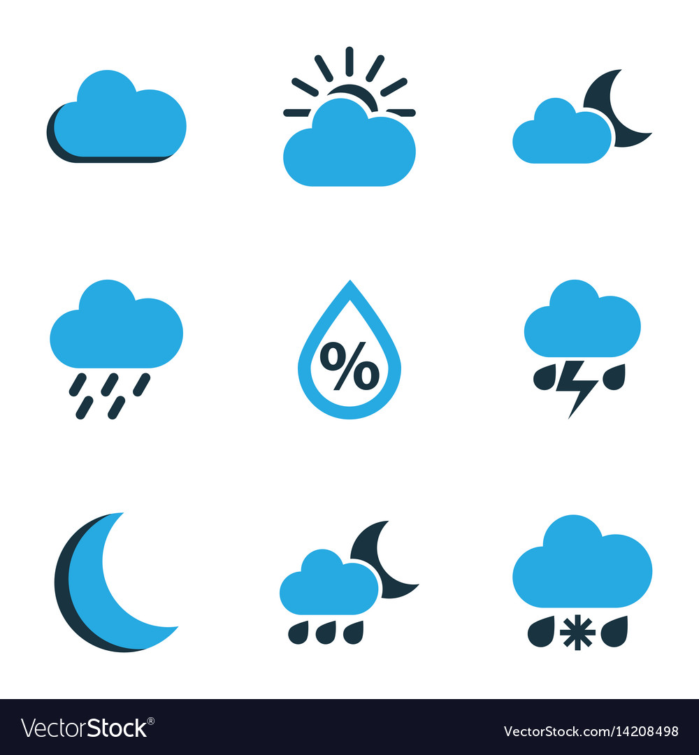 Meteorology colored icons set collection of vector image