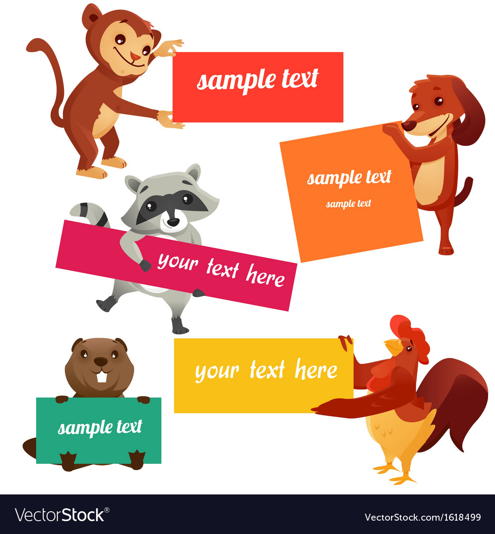 Set of labels with animals vector image