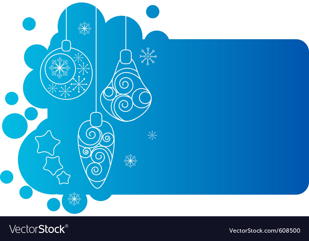 Blue christmas frame with decorations vector image
