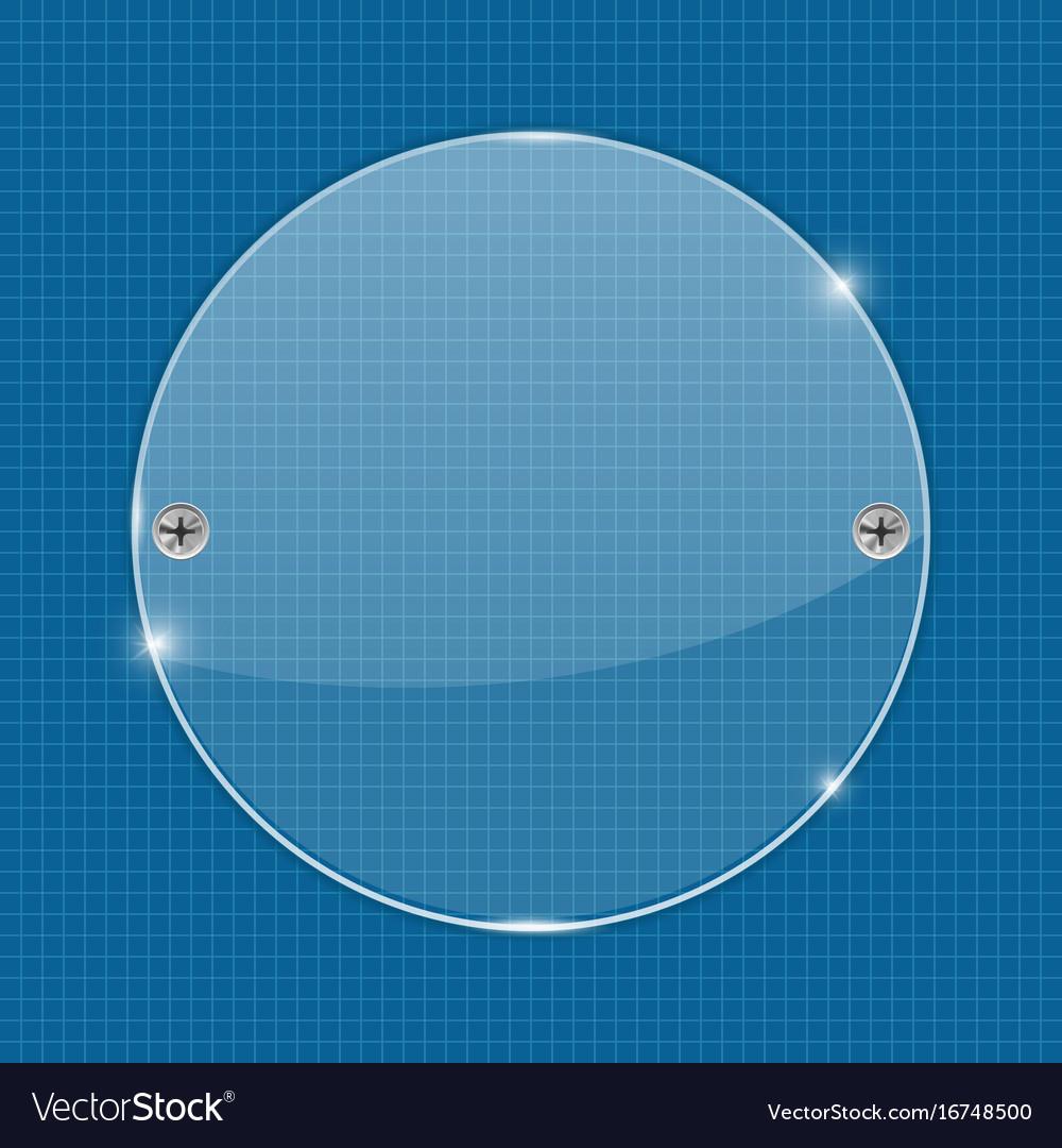Round glass plate on blueprint background vector image malvernweather Choice Image