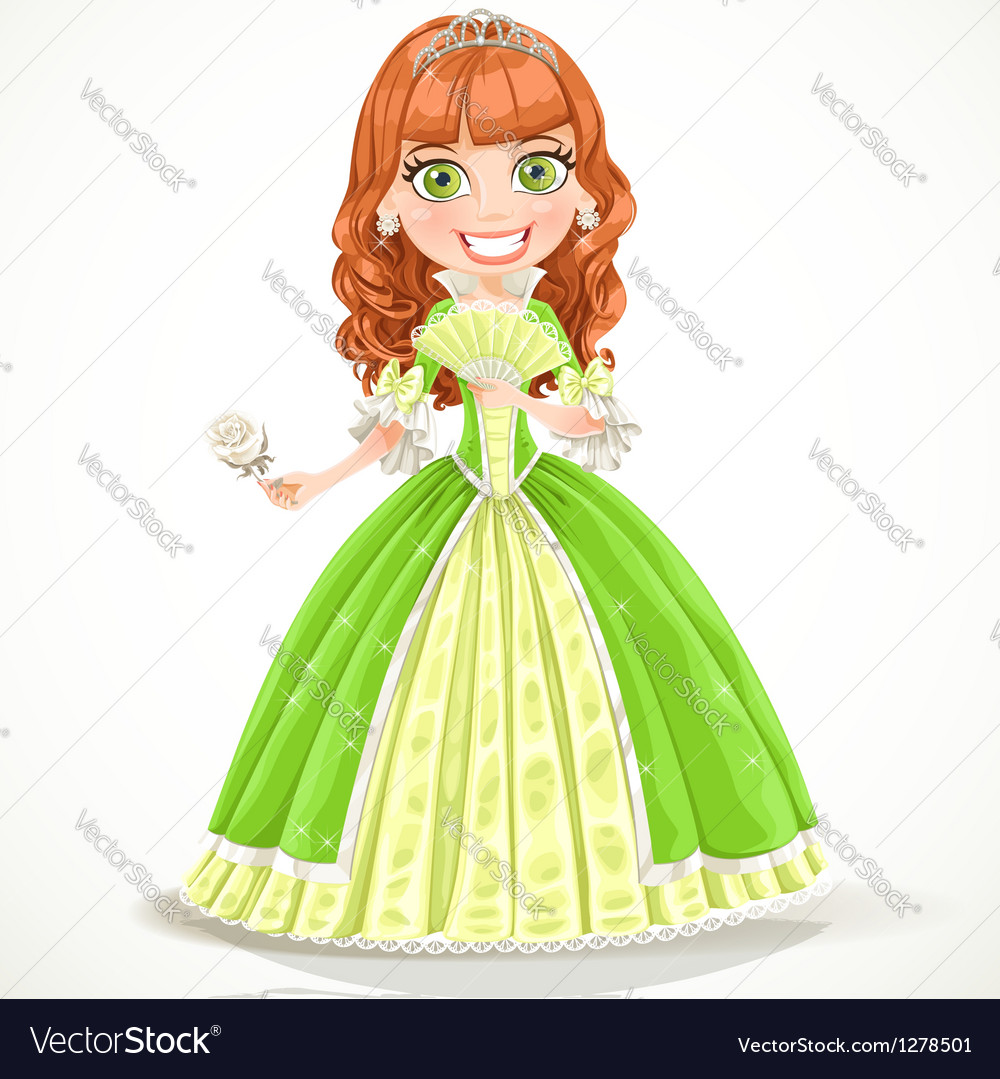 Beautiful princess with brown hair in green dress vector image