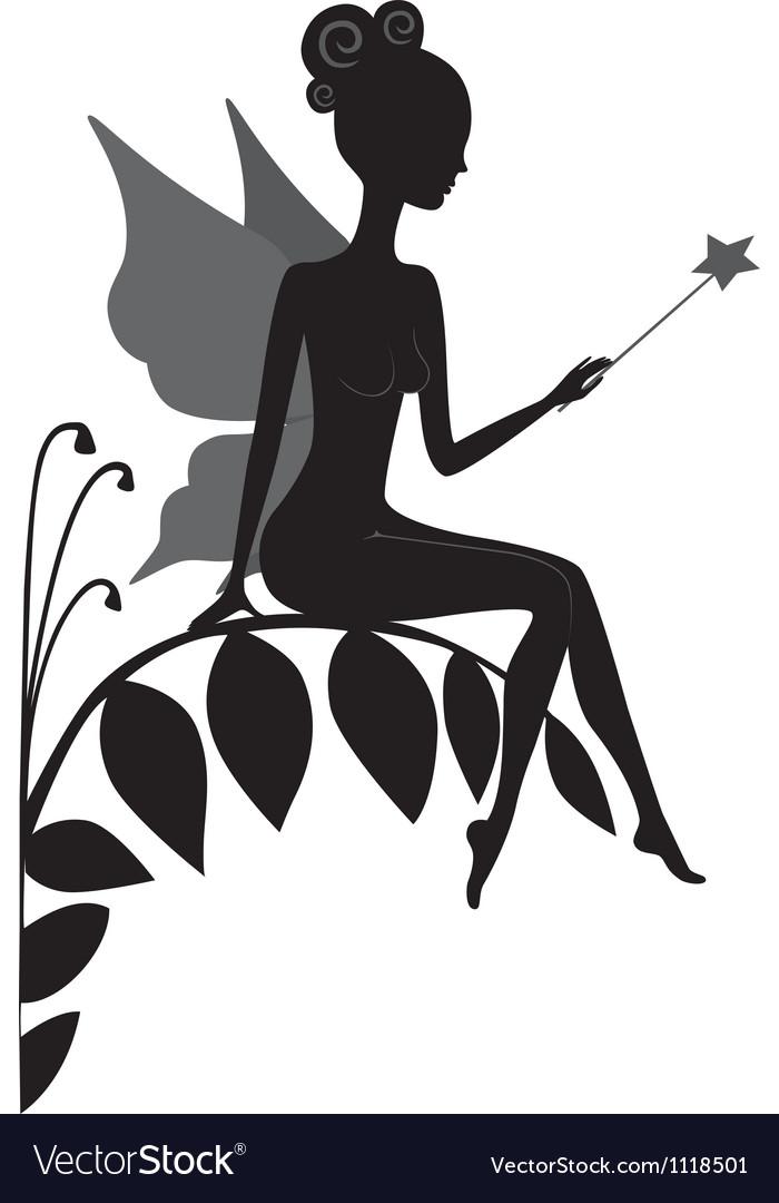 Silhouette of magic fairy vector image