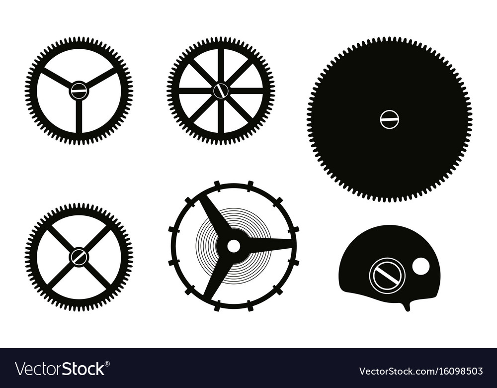 Clock mechanism assembly vector image