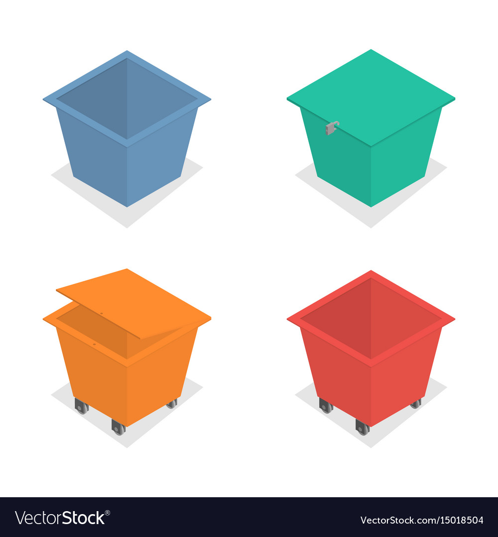 Metal container for garbage in isometric vector image